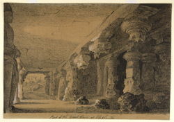 'Part of the Great Cave at Elephanta. G. Ridge. March 1829